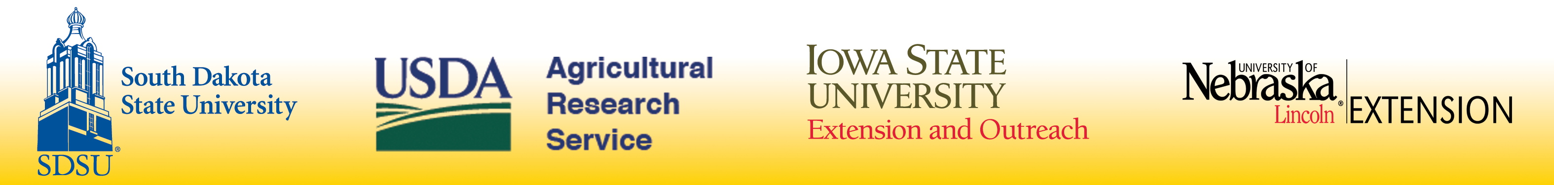 project partner logos - South Dakota State University, USDA-ARS, Iowa State University, and University of Nebraska - Lincoln